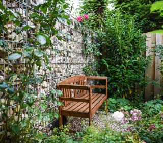 Cottage Garten mit Gartenbank